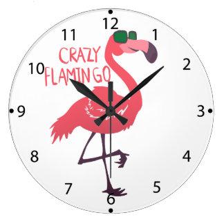 Crazy flamingo large clock