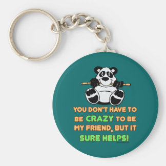 Crazy Friends Basic Round Button Keychain