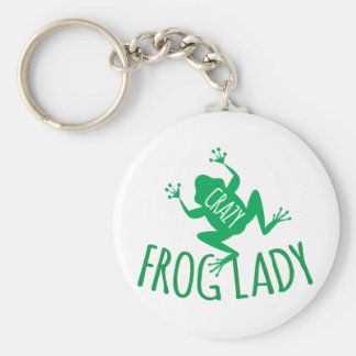 Crazy Frog Lady Basic Round Button Keychain
