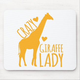 crazy giraffe lady mouse pad