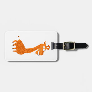 Crazy giraffe luggage tag