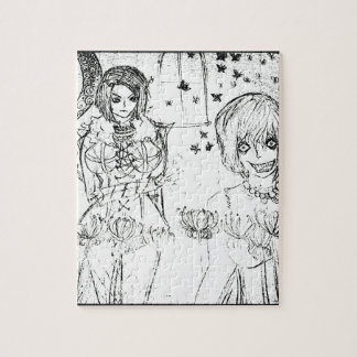 crazy girl and insane lovely girl jigsaw puzzle