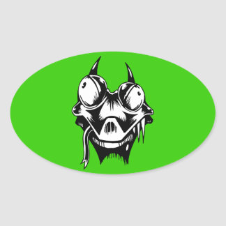CRAZY GOOGLY-EYED DRAGON ALIEN CARTOON VECTOR TRIB OVAL STICKERS