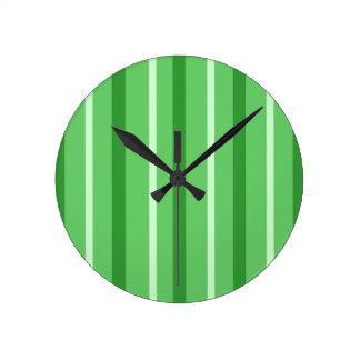 Crazy Green Stripes Round Clock