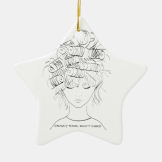 Crazy Hair, Don't Care Ceramic Star Ornament
