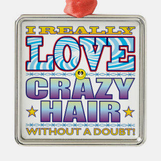 Crazy Hair Love Face Metal Ornament