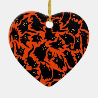 Crazy Halloween Cats Heart Ornament