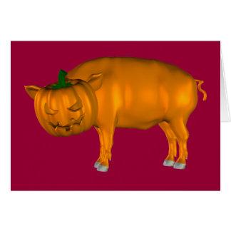 Crazy Halloween Pig Card