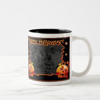 Crazy Halloween Pumpkins 2-Photo Frame Two-Tone Coffee Mug