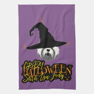 Crazy Halloween Shih Tzu Lady Shih Tzu Mom Kitchen Towel
