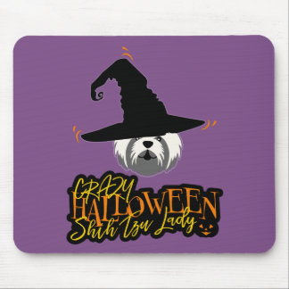 Crazy Halloween Shih Tzu Lady Shih Tzu Mom Mouse Pad
