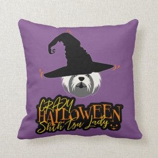 Crazy Halloween Shih Tzu Lady Shih Tzu Mom Throw Pillow