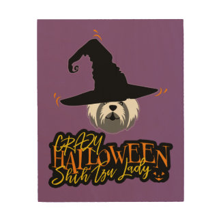 Crazy Halloween Shih Tzu Lady Shih Tzu Mom Wood Wall Art