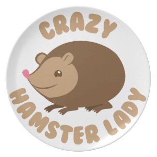 crazy hamster lady plate