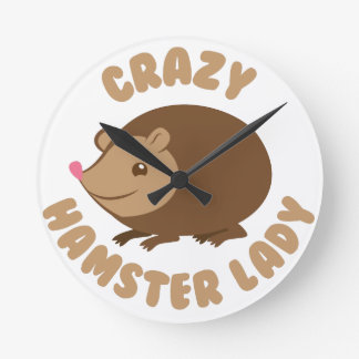 crazy hamster lady round clock