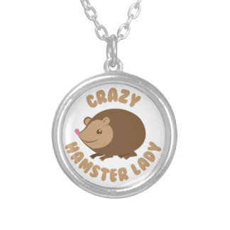 crazy hamster lady silver plated necklace