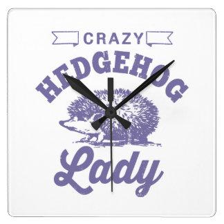 Crazy Hedgehog Lady Clocks