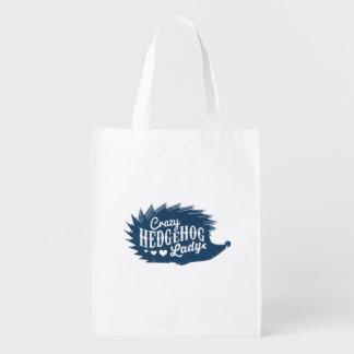 Crazy Hedgehog Lady Reusable Grocery Bag