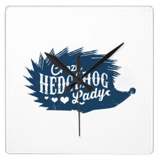 Crazy Hedgehog Lady Square Wall Clock
