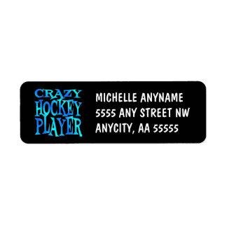 Crazy Hockey Player Return Address Label