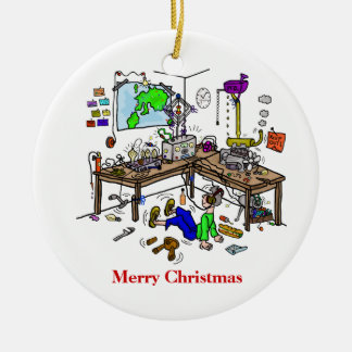 Crazy Homebrew Ham Radio Shack Christmas Ornament