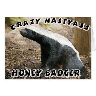 crazy honey badger greeting card