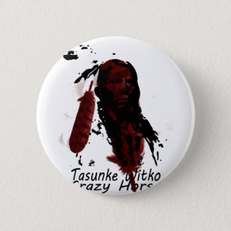crazy-horse feather 2 inch round button