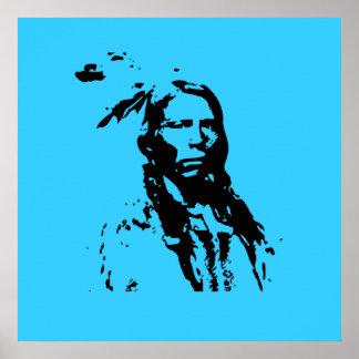 Crazy Horse Native American Leader 3 ft Canvas Pri Poster