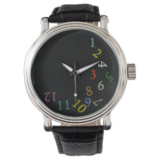 crazy hour color numbers wrist watches