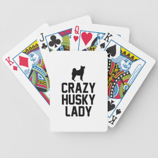 Crazy Husky Lady Bicycle Playing Cards