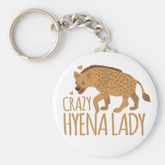 crazy hyena lady basic round button keychain