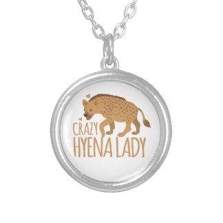 crazy hyena lady silver plated necklace