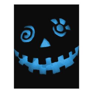 Crazy Jack O Lantern Pumpkin Face Blue Custom Flyer