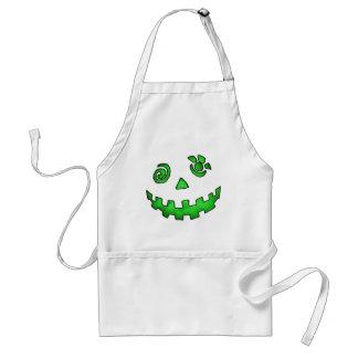 Crazy Jack O Lantern Pumpkin Face Green Adult Apron