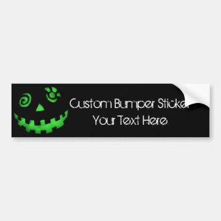Crazy Jack O Lantern Pumpkin Face Green Car Bumper Sticker