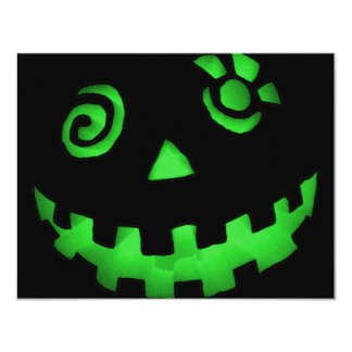 Crazy Jack O Lantern Pumpkin Face Green 4.25x5.5 Paper Invitation Card