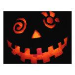 Crazy Jack O Lantern Pumpkin Face Orange Personalized Invites