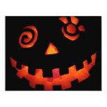 "Crazy Jack O Lantern Pumpkin Face Orange 4.25"" X 5.5"" Invitation Card"