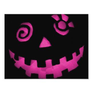 Crazy Jack O Lantern Pumpkin Face Pink 4.25x5.5 Paper Invitation Card