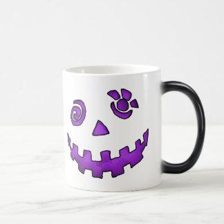 Crazy Jack O Lantern Pumpkin Face Purple Coffee Mugs