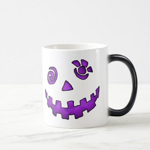 Crazy Jack O Lantern Pumpkin Face Purple Morphing Mug