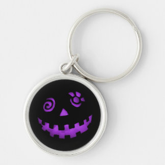 Crazy Jack O Lantern Pumpkin Face Purple Silver-Colored Round Keychain