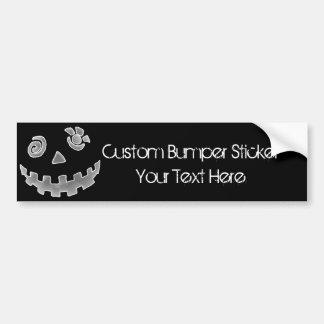 Crazy Jack O Lantern Pumpkin Face White Gray Car Bumper Sticker