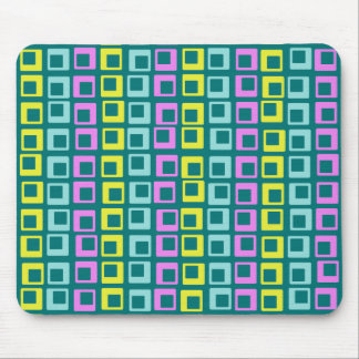 Crazy jumping retro vintage squares on cyan mouse pad