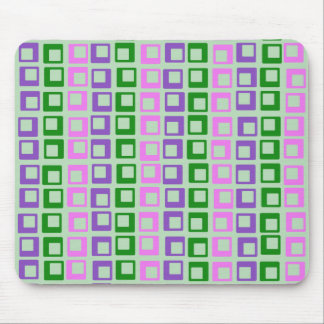 Crazy jumping retro vintage squares on moss green mouse pad