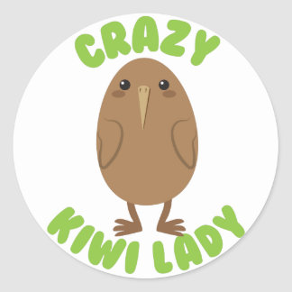 crazy kiwi lady circle round sticker