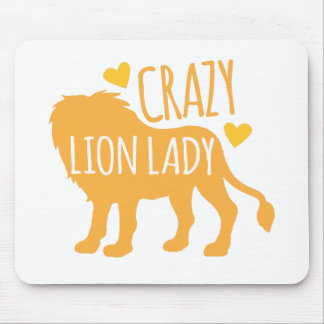 crazy lion lady mouse pad