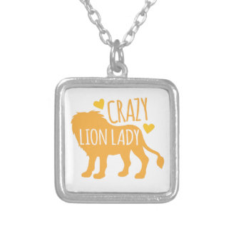 crazy lion lady silver plated necklace