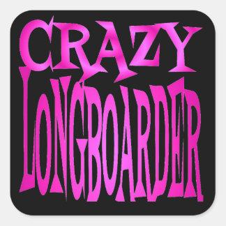 Crazy Longboarder in Pink Square Sticker