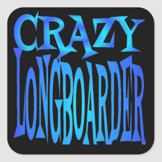 Crazy Longboarder Square Sticker